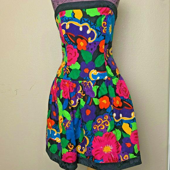A.J. Bari Dresses & Skirts - AJ Bari Jacquard Tropical Floral Tube Dress